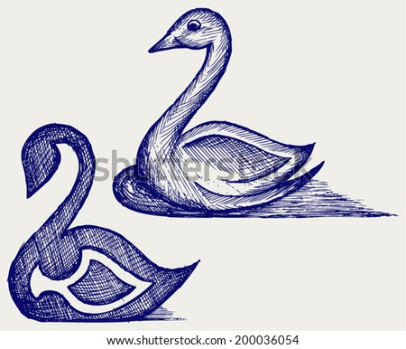 Swan sign. Doodle style - stock vector