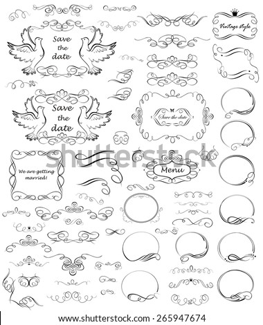 Swashes and vintage frames, design and titles - stock vector