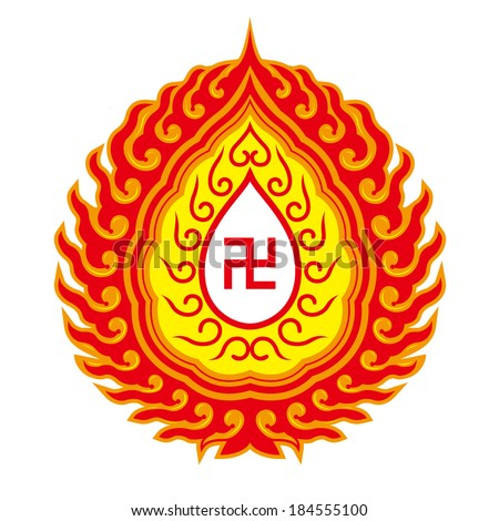 Swastika symbol-Buddhist tradition pattern(the symbol could be commonly found in Buddhist temples, religious artifacts, texts related to Buddhism and schools founded by Buddhist religious groups) - stock vector