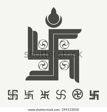Swastika Symbol Set Buddhist Tradition Spiritual Stock Vector