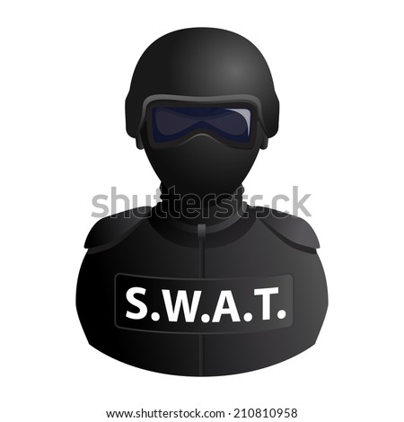 SWAT (Special Weapons And Tactics) specail forces avatar in a mask with glasses icon isolated on white background. Vector illustration - stock vector