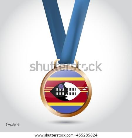 Swaziland Flag in Bronze Medal. Vector Illustration - stock vector