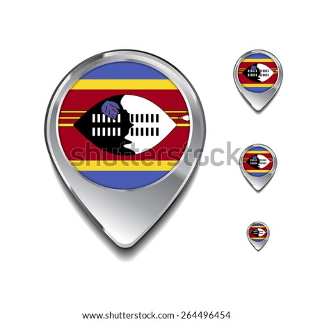 Swaziland flag map pointer. 3d Map Pointer with flag glossy button style on gray background - stock vector