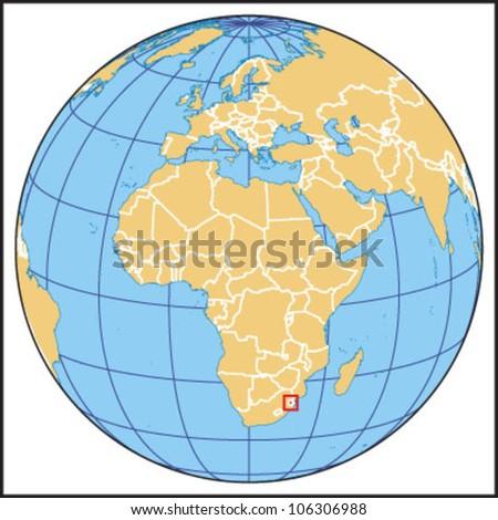 Swaziland Locate Map - stock vector