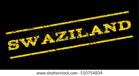 Swaziland watermark stamp. Text caption between parallel lines with grunge design style. Rubber seal stamp with dust texture. Vector yellow color ink imprint on a blue background.