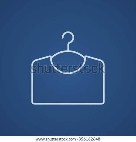 Sweater on hanger line icon for web, mobile and infographics. Vector light blue icon isolated on blue background. - stock vector