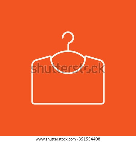 Sweater on hanger line icon for web, mobile and infographics. Vector white icon isolated on red background. - stock vector