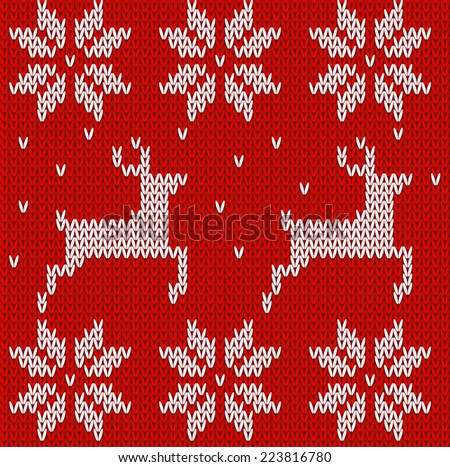 Sweater with deers. Knitted seamless background with deers and Norwegian ornaments. - stock vector