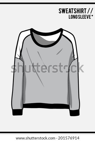 Sweatshirt, long sleeve - stock vector