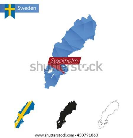Sweden blue Low Poly map with capital Stockholm, versions with flag, black and outline. Vector Illustration.