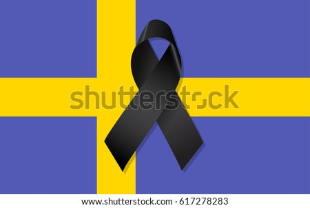 Sweden flag with black ribbon vector