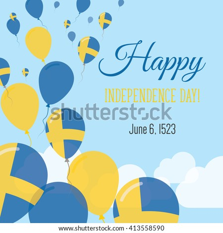 Sweden Independence Day Greeting Card Flying Stock Vector Royalty