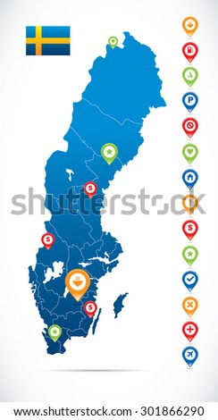Sweden Map with Navigation Icons - stock vector