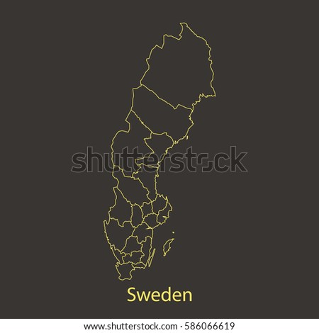 Sweden Outlinestroke Map Administrative Division Vector Stock Vector