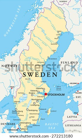 Sweden Political Map with capital Stockholm, national borders, important cities, rivers and lakes. English labeling and scaling. Illustration. - stock vector