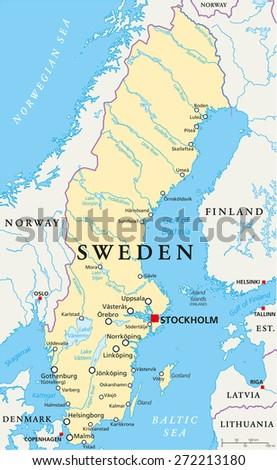 Sweden Map Stock Images RoyaltyFree Images Vectors Shutterstock - Sweden map major cities