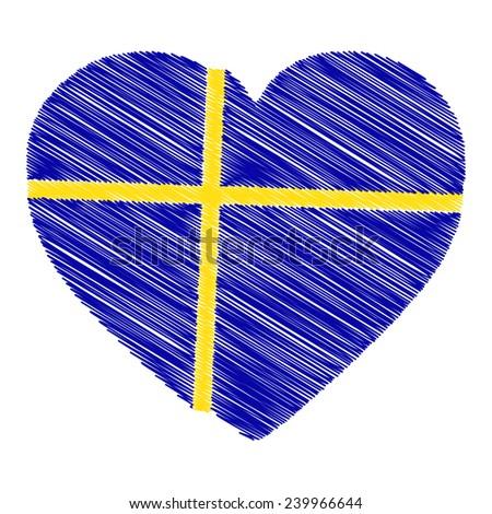 Swedish flag heart shape - stock vector
