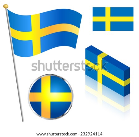 Swedish flag on a pole, badge and isometric designs vector illustration.  - stock vector