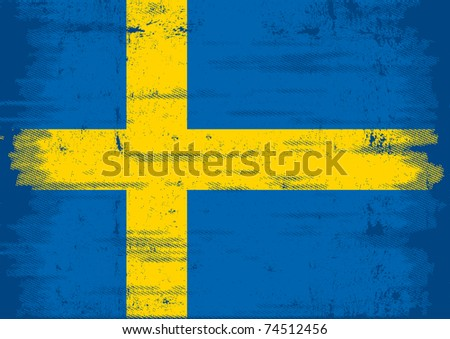 swedish grunge flag An old swedish flag with a texture - stock vector