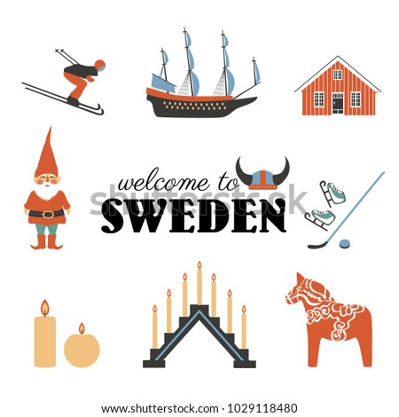 Swedish Vector Traditional Symbols Vasa Sailer Stock Photo Photo