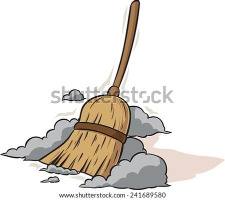 Sweeping Broom - stock vector