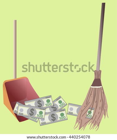 Sweeps dollar bills money in the scoop, isolated on green background - stock vector