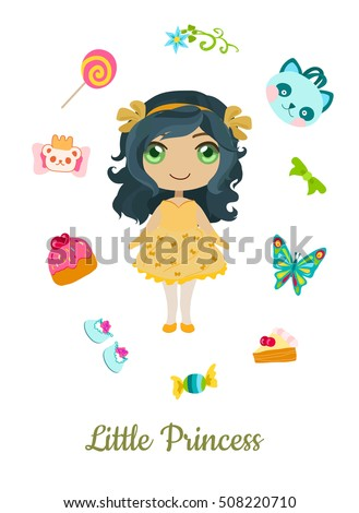 Sweet and adorable cartoon princess with accessories.
