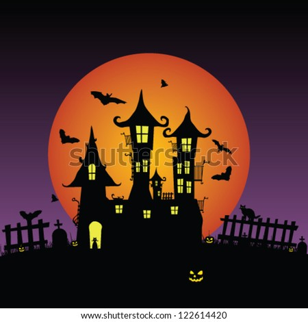 sweet and beauty castle with bats vector illustration - stock vector