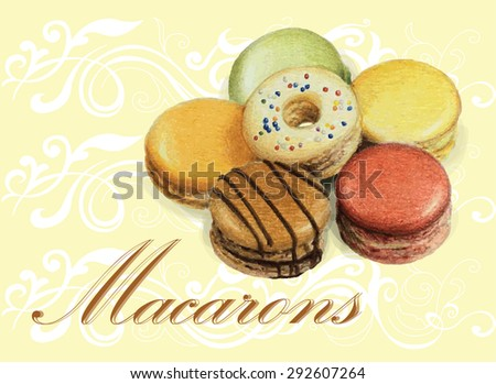 Sweet and colorful french macaroons. Celebration. Invitation card. Vector illustration. - stock vector