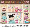 Sweet and Cupcake Design.With little girl. - stock vector