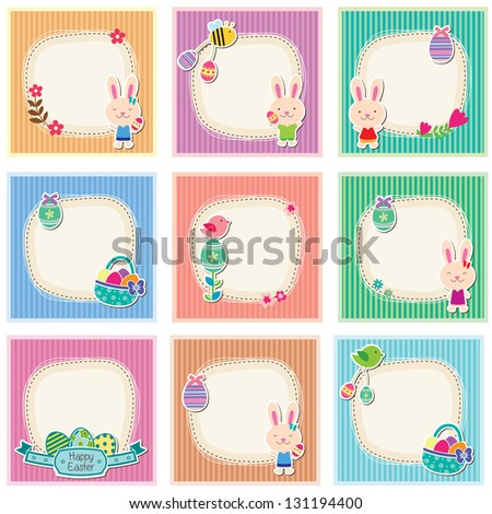 Sweet and cute easter cards - stock vector