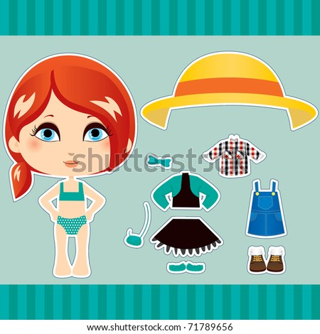 Sweet and cute red haired fashion girl clothes collection set - stock vector