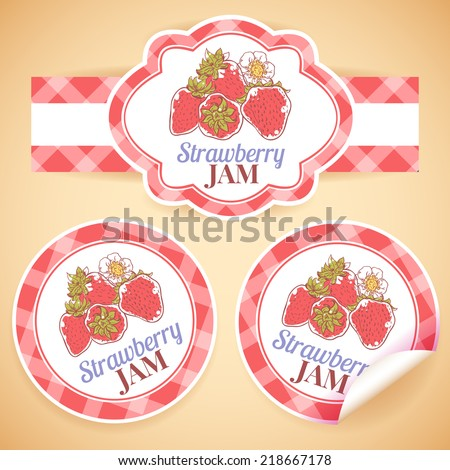 Sweet and healthy homemade strawberry jam paper label set isolated vector illustration - stock vector