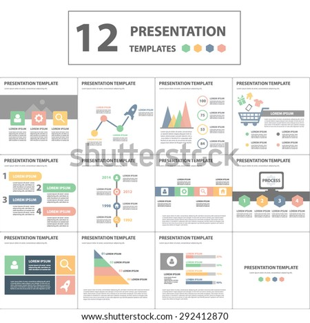 Sweet and soft Multipurpose Multicolor presentation template brochure flyer flat design set - stock vector