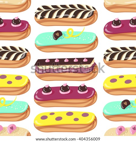 sweet yummy cream eclair glazed dessert stock vector 404356009 rh shutterstock com Food Clip Art Food Clip Art