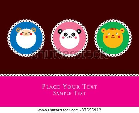 sweet animals greeting - stock vector