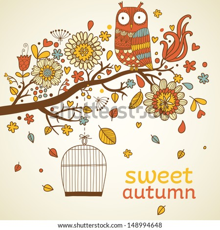 Sweet autumn concept card in vector. Birds on branch with stilysh birdcage. Bright floral background  - stock vector