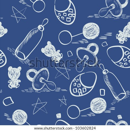 Sweet babies doodle seamless pattern for boy.