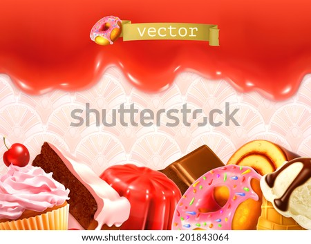 Sweet background, vector illustration - stock vector