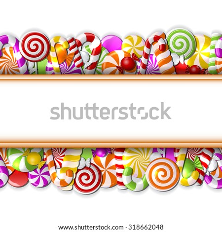 Sweet banner with colorful candies. Seamless pattern. Vector illustration - stock vector