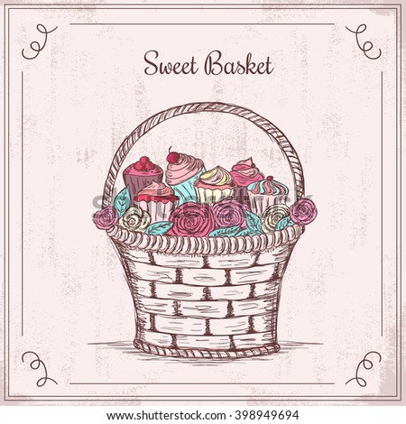 Sweet basket full of roses and cupcakes. Hand drawn vector illustration.