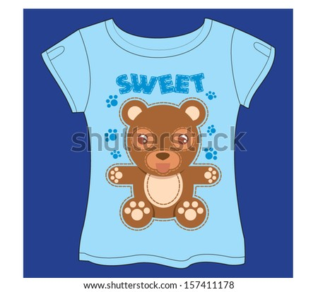 Sweet Bear T-shirt - stock vector