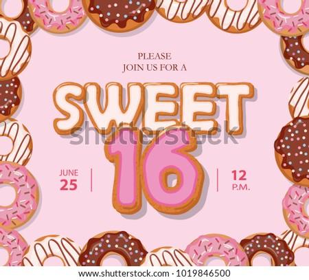 Sweet 16 Birthday Card Cute Cartoon Stock Vector Royalty Free