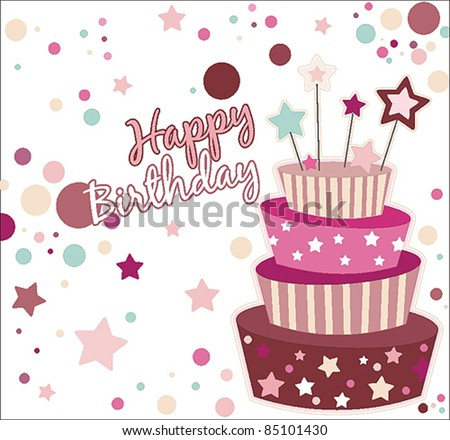 Sweet birthday card cake stock vector 85101430 shutterstock sweet birthday card with cake bookmarktalkfo Choice Image