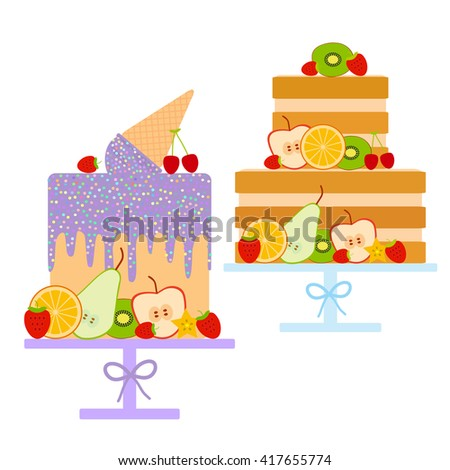 Sweet cake decorated with fresh fruits and berries, Card design Birthday, valentine's day, wedding, engagement. Ice cream waffle cone, lilac icing sprinkles, pastel colors on white background. Vector - stock vector