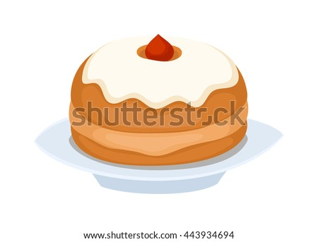 Sweet cake isolated on white. Traditional sweet cake holliday vector. Cake food sweet vector. Food fresh cake - stock vector