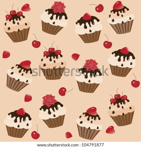 Sweet cakes on a brown background, vector image