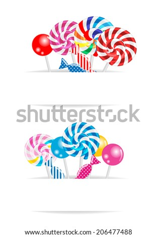 Sweet candy banners set, vector illustration - stock vector