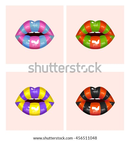 Sweet candy sexy passion lips, halloween holidays masquerade fantastic set of colored lips, erotic open mouth, passion, carnival, celebration, vector illustration - stock vector