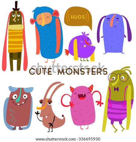 Sweet  Cartoon Monsters.Cute vector set for childish design collection. Fabulous incredible characters  isolated on white - stock vector